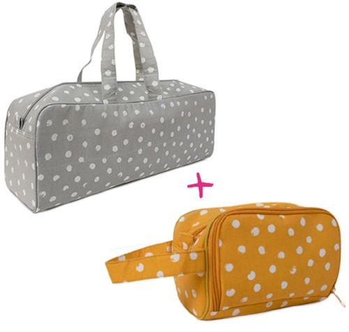 Yarnplaza Knitting Bag and Crochet Pouch Set 8 Grey Dots/Mustard Dots