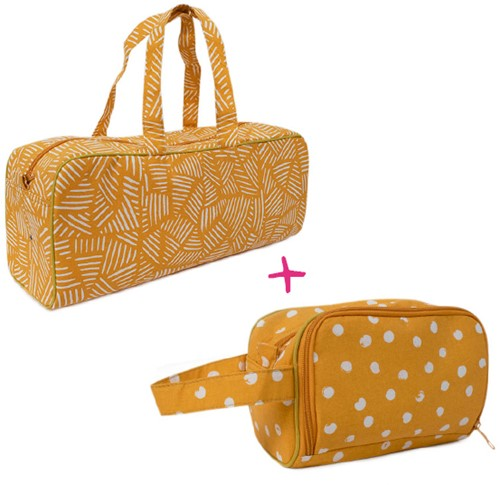 Yarnplaza Knitting Bag and Crochet Pouch Set 1 Mustard Stripes/Mustard Dots