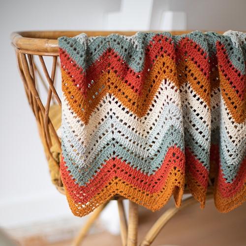 Crochet Pattern Organic Cotton Ripple Baby Blanket
